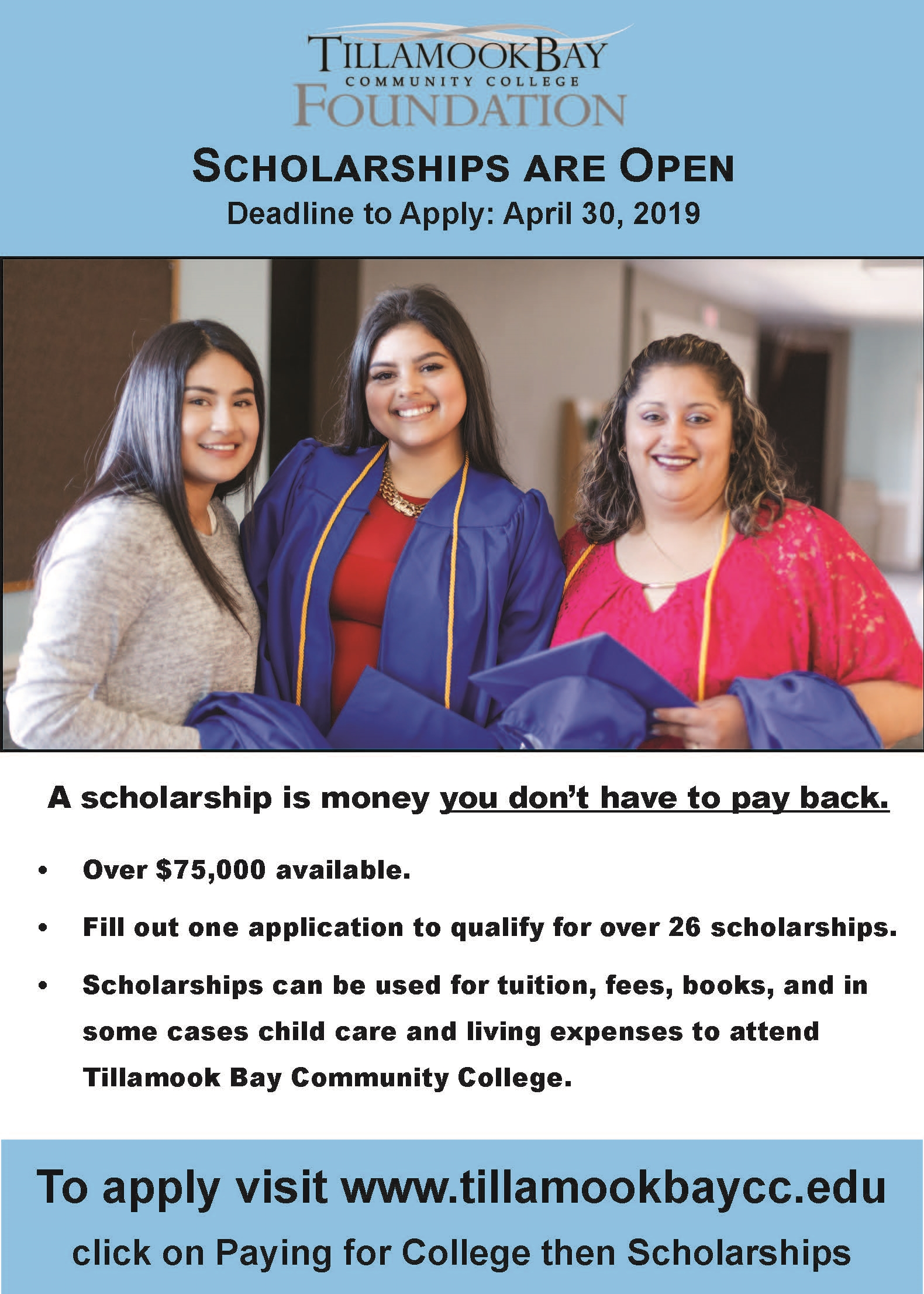 TBCC Scholarship Deadline April 30