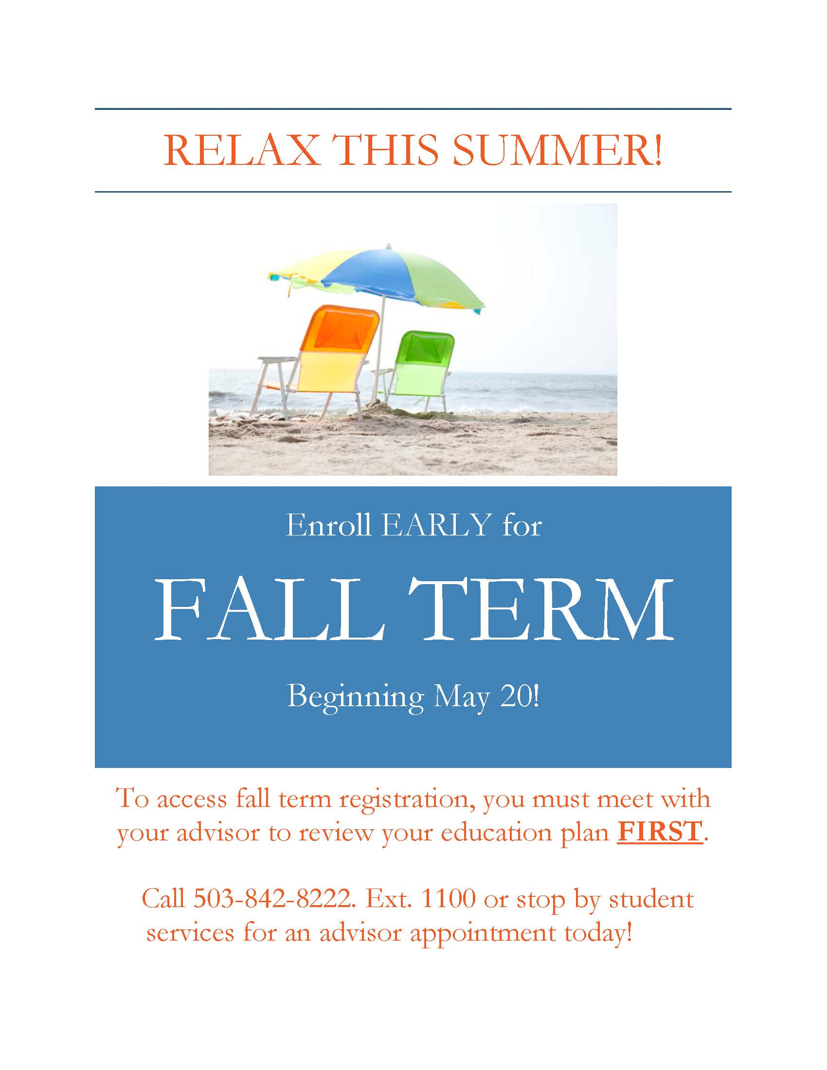 Early Fall Registration Contact Advising
